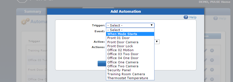 Automations tab select
