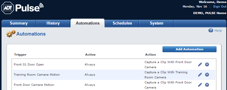 Automations tab