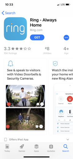 Ring Always Home App 3.3 Rating