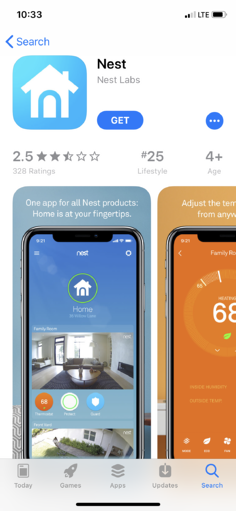 Nest Smart Home App 2.5 Rating