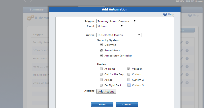 Automations tab for actions